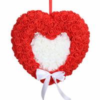 zimmerdekoration rosen großhandel-Hochzeit liefert Liebe Rosen Doppelherz Kranz Gaze Ornamente Hochzeit Hochzeit Raumdekoration Blume Ball Requisiten