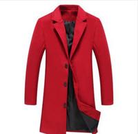 takım elbise tasarımı toptan satış-Slim Fit Ofis Suit Ceket 5XL Yeni Erkekler Kırmızı Yün Karışımları Suit Tasarım Yün Coat Erkekler Rasgele Trençkot Design Plus Boyut
