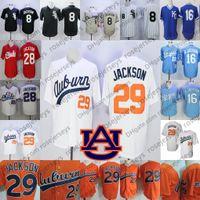 jersey de beisbol cosido al por mayor-NCAA Auburn Bo Jackson Blanco Vintage Jersey Hombre Retro Béisbol universitario 29 Naranja cosida Memphis Chicks 28 KC University 16 Azul 8 Negro