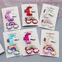 ingrosso regali arcobaleno per i bambini-6 colori Unicorn Baby Girls Paillettes Clip di capelli Rainbow Design Kids Girl Barrettes Set (2pz) Per bambini Boutique Archi Regalo per bambini EFJ377