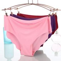 Wholesale seamless underpants resale online - Women Soft Underpants Seamless Lingerie Briefs Underwear Panties ice silk Seamless briefs Women s Panties color KKA6513