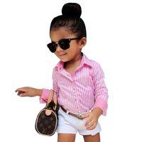 çocuklar çizgili uzun kol toptan satış-2019 Yaz Kız Giyim Setleri Marka Uzun Kollu Çizgili Gömlek + Beyaz Şort Pantolon 2 adet Bebek Kız Giysileri Set Çocuklar Suits
