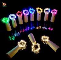 ingrosso illuminazione delle bottiglie di vetro-2M 20LED String Lights Tappo per bottiglia a forma di sughero Bottiglia per vino in vetro Sughero con lampada a LED Luci per filo in filo di rame per feste Matrimonio Natale