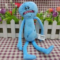 yumuşak mavi bebek toptan satış-Mavi Rick Ve Morty Mr Meeseeks Mutlu Sad Yüz Peluş Oyuncak bebekler Yumuşak Çocuk Oyuncakları