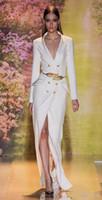 vestidos de fiesta de calidad al por mayor-2019 Nueva Venta Caliente Sexy Split Blanco Vestidos Largos de Noche Mangas de Alta Calidad Sexy Con Cuello En V Formal Prom Vestidos de Fiesta con Cinturón Dorado