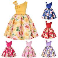 perlas de disfraces al por mayor-Venta al por menor de los niños vestido de diseñador niñas inclinado hombro perla arco floral princesa vestido de fiesta de los niños traje cosplay diseñador boutique de ropa