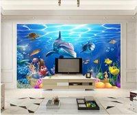 ingrosso murali subacquei della carta da parati-WDBH ordinazione murale 3d foto carta da parati Underwater World Aquarium Tropical Fish decorazioni per la casa soggiorno wallpaper per pareti 3 d