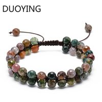 Wholesale faceted strands natural stones resale online - New Faceted India Onyx Double Row Beaded Bracelet Adjustable Double Layer Handwoven Braided Natural Stone Bracelet For Gifts
