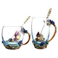 tee-set blau großhandel-Emaille transparentes Glas Kaffee Tee Becher blaue Rosen hitzebeständige Tasse Set mit Edelstahl Löffel Coaster und Wischtuch