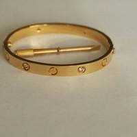 indian 18 vergoldeter schmuck großhandel-Liebe schraube armreifen 316l titanium stahl zehn cz stein schraubendreher armbänder für frauen männer armbänder mit luxus original tasche