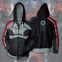 Wholesale mass effect resale online - Amazing BIANYILONG Alien Hoodies Sweatshirts Coat Hoodies Costume Legion Clothing Mass Effect D Printed Zipper Tops