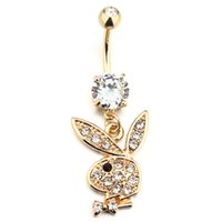 Wholesale body jewelry for sale - Group buy Bunny Gold Plated Dangle Belly Button Navel Rings Body Piercing Jewelry Gem mm x mm length