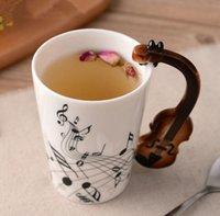 рекламная гитара оптовых-Продвижение творческая музыка Скрипка стиль гитара Керамическая кружка кофе чай молоко Stave чашки с ручкой кружка кофе новинка подарки
