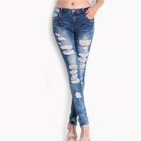 брюки для девочек оптовых-Women Spring Jeans Girls Elasticity Slim Denim Pencil Feet Pants Tight Hole Trousers Plus Size Jean