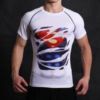 Wholesale dc cosplay online - Batman VS Superman T Shirt Tee D Printed T shirts Men Short Raglan sleeve Fitness Cosplay Costume DC Film Slim Fit Tops