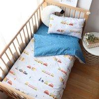 Wholesale green crib bedding sets resale online - 3Pcs Baby Bedding Set For Girl Boy Newborns Cotton Crib Bedding Set Baby Nursery Decor Children Bed Linen Without Filler