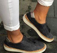 женские плоские подошвы оптовых-Женщины Дизайнерской эспадрильи обувь New Flat подошвы Mesh пластинчатых формные Мокасины Обувь Мода Дышащие платформы Тренажеры Slip-на обуви
