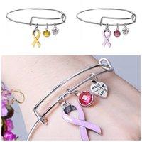 pulseiras de mama ajustável venda por atacado-Fita Popular Cancer Braceletes liga ajustável carta pingente Bangle Mulheres Enfermagem sobrevivente Pulseira Jóias 2 9xt E1