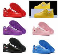 rosa luftwaffen großhandel-Air Low Men MCA University Blau Gelb Weiß Rosa Forces Schuhe 2019 Neue Laufschuhe für Herren Trainer Damen Sport Designer Sneakers