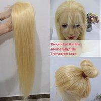 işlenmemiş brezilya dantel ön toptan satış-613 Sarışın Dantel ön Peruk 26 '' % 100 ham İşlenmemiş Virgin Brezilyalı Düz Bal Blonde İnsan Saç peruk 8''to