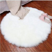 Wholesale cream color carpet resale online - Round Rugs Pure Color Carpets Soft Faux Fur Wool Living Room Sofa Carpet Plush Carpets Bedroom Cover Mattress Xmas Door Window