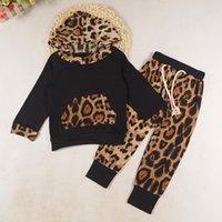o leopardo imprime hoodies venda por atacado-Crianças roupa do bebê Set Crianças Long Sleeve Leopard Print Treino Top + Pants Outfits Set crianças Hoodies roupa Infantil
