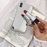 талрепная галактика оптовых-Зеркальный мягкий чехол ТПУ для Iphone XR XS MAX X 8 7 6 6S 8+ SE 5 5S Galaxy S10 S10e S9 Plus S8 Note 8 9 Ударопрочный роскошный чехол + ремешок
