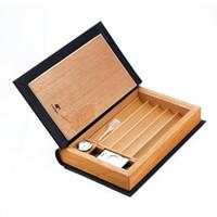 braune leder zigarette großhandel-Cohiba Brown Leather Book Style Zederngefütterte Zigarettenspitze Zigarette Humidor Cases können 5 Zigarren jeder Größe per Dhl versenden