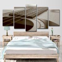 guitarra de cartazes venda por atacado-HD Imprimir 5 Peças Da Arte Da Lona Retro Guitarra Pintura Modular Impressão Canvas Home Decor Poster Para Sala de estar