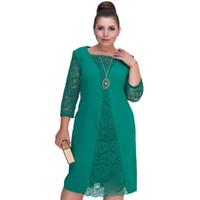 ingrosso grandi abiti da donna merlettano-Vestito di grandi dimensioni Vestito estivo da donna in pizzo verde Rob femminile Bodycon Abiti casual Grandi taglie forti Abiti