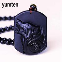 ko großhandel-Yumten Großhandel Schwarzer Obsidian Wolf Halskette Carving Wolf Kopf Amulett Anhänger Kette Obsidian Segen Glück Anhänger JewelryYumten
