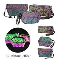geometrische taschen großhandel-Shujin Fashion Women Reißverschluss Kosmetiktasche Luminous Make-up-Tasche Geometrische Kosmetik Organizer Folding Reisetaschen Make Up