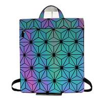 Wholesale new cell phones for girls resale online - New Brand Luminous Women Backpack Leather Student School bag Geometric Laser Diamonds Lattice Small Backpacks for Girls