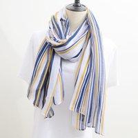 ingrosso sciarpa a righe gialle-Sciarpa a righe giapponese con strisce gialle e blu è una piccola sciarpa di seta artistica con atmosfera fresca e semplice