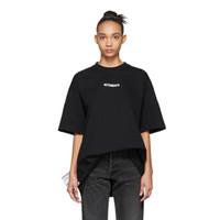 kadın pamuklu tişört toptan satış-2019 Yaz Lüks Vetements Küçük Logo benzersiz Yüksek Kaliteli Tshirt Moda Erkek Kadın Yan Büyük Yıkama Etiketi T Gömlek Casual Pamuk Tee Üst