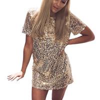 ingrosso vestiti da club club nave-Abito d'oro 2019 Estate Donna Sexy breve T Shirt Dress Evening Party Elegante Club Abiti drop shipping abiti firmati