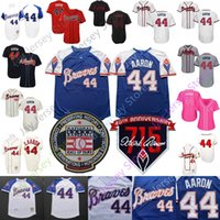 Wholesale cool pullovers resale online - Atlanta Hank Aaron Jersey Cooperstown MN Braves HR patch Hall Of Fame Cream Flexbase Cool Base Pullover Red Mesh