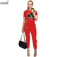 ingrosso le donne adattano il set di corto superiore-estate donna casual moda manica corta girocollo stampato top pantaloni lunghi elastici comodo contratto set TS929