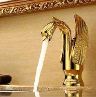 cisnes de cerâmica venda por atacado-Torneira Da Bacia do Cisne de Ouro Ti-pvd Latão Torneira de Cerâmica Placa Spool Titular Deck Montado Único Lidar Com Torneiras De Cobre Cerâmico Da Bacia