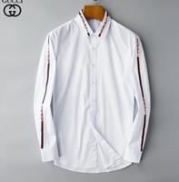cheque camisas de moda al por mayor-2019 hombres de la marca de negocios camisa informal de los hombres de manga larga a rayas slim fit masculina social masculina camisetas nueva moda hombre camisa comprobada