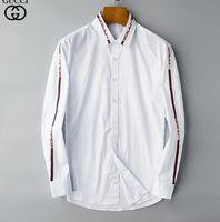 verificação nova da forma camisetas venda por atacado-2019 homens de negócios da marca casual camisa dos homens de manga longa listrada slim fit masculina social do sexo masculino t-shirt nova moda homem verificado camisa