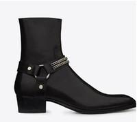 top schuhe leder spitz großhandel-Herrenmode Wyatt Harness Stiefel aus schwarzem Leder Herren personalisierte Herren Martin Stiefel Cowboystiefel High-Top-Schuhe spitzer Stylist
