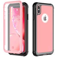 étui iphone rose clair achat en gros de-Pour iPhone Xs Max Full-Body robuste avec housse de protection d'écran intégrée Etui fin transparent pour iPhoneXs 5.8inch 6.5 pouces rose
