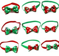Wholesale christmas bows for dogs resale online - lastest Pet puppy Cat Dog Christmas tree snowflakes bow tie necklace collar bowknot necktie grooming for pet supplier decoration Costume