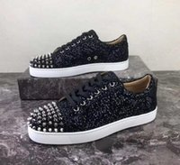 Wholesale sneakers spikes for women for sale - Group buy 19s Cheaper Glitter Leather Fashion Red Bottom Spikes Sneakers Shoes For Women Men Casual Walking Luxury Designer Walking EU35