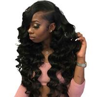 ingrosso parrucche incollate africano americane-Parrucche ricci sciolti dell'onda per gli afroamericani, parrucche vergini anteriori brasiliane del pizzo dei capelli umani parrucche piene del pizzo di Glueless per le donne nere