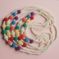 Wholesale green flower pendants resale online - fashion long necklace for baby girls sweater chain white flower with pear Pendant colorful beads kids accessories