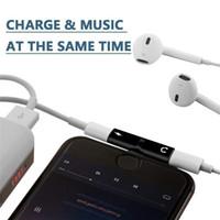 caso etui venda por atacado-Dual port fone de ouvido aux adaptador case para iphone x xr xs max 7 8 plus 7 plus 8 mais eu telefono 10 iphonex etui coque fundas acessórios para i8x i7