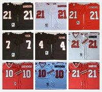 ingrosso punto di jersey di calcio-Uomini NCAA pensione Brett Favre Michael Vick Steve Bartkowski Deion Sanders epoca del calcio Jersey M-3XL cucita