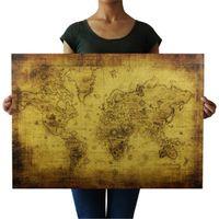 weinleseartplakate großhandel-Große 71x51cm Vintage Style Retro Papier Poster Globe Welts-Karten-Geschenke